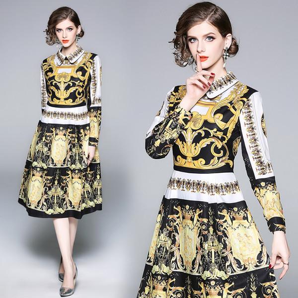 Robe d'automne avec Vintage européenne Style Baroque Imprimer Midi Bureau Dame Élégante De La Mode Robes Uniques pour les Femmes Dîner De Fête