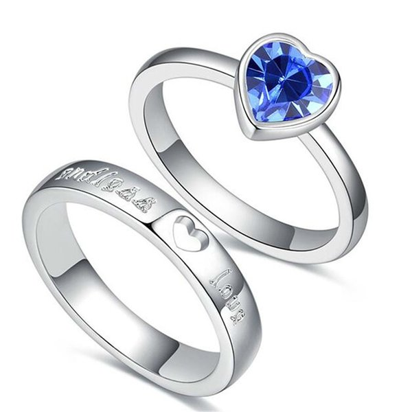 00fc0aab6b871 2018 Crystal From Swarovski Elements Heart Lovers For Women And Men Wedding  Jewelry Couples Rings Accessories 26535 From Sbchf123, $6.61 | Dhgate.Com