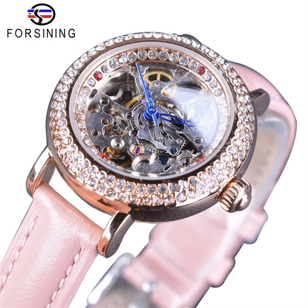 Forsining Lady Pink Watches Diamond Bling Design Fashion Skeleton Pink Bands Leather Dress Automatic Wristwatches For Women Girls Gift