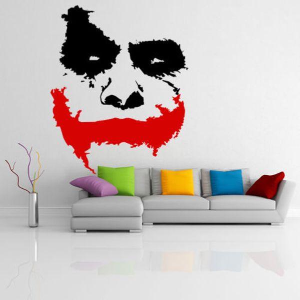 Pegatinas de pared de vinilo Decoración de la habitación Calcomanías de arte Papel pintado extraíble Scary Joker Face Movie Batman The Dark Knight Sticker Mural