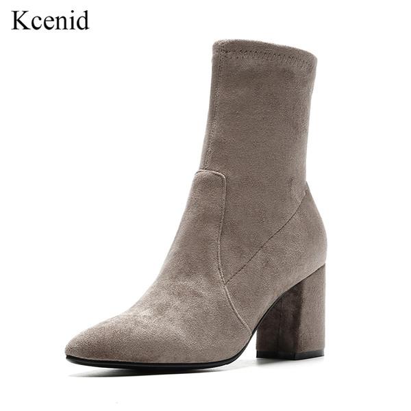 Kcenid Elastik akın kadın ayakkabı moda sivri burun kayma çorap üzerinde çizmeler kış kadın yüksek topuklu kadın orta buzağı çizmeler siyah gri