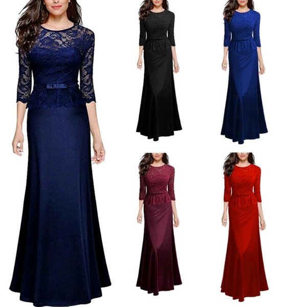 2018 New Mother's Dress For Ladies Womens Cheap 3/4 Sleeves Bateau Mother of Bride Dresses Wedding Party Formal Evening Gowns