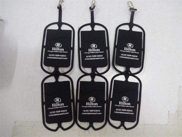 Wholesale Cheap Custom Logo Screen Printed Silicone Cheap Mobile Phone Lanyard strap pounch card holder for samsung black berry smart phone