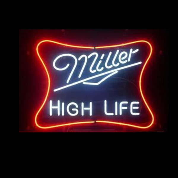 "Miller High Life Neon Sign Custom Handmade Real Glass Pub Store Beer Bar KTV Club Advertising Display Neon Signs 17""X14"""