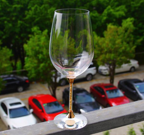 elegant gold stem wine glasses lead free crystal wedding goblet set lovers gifts drinking wine glass