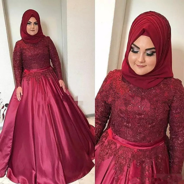 Muslim Arabic Burgundy Plus Size ball gown Prom Dresses High Neck Lace Appliques Beaded Evening Gowns Long Sleeves Formal Party Wear