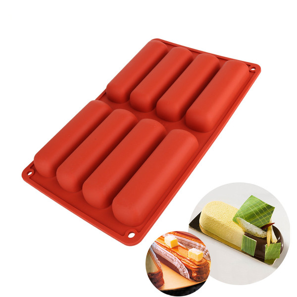 8 Forms 16 holes Cake tools Silicone Classic Collection Shapes finger Orange Non Stick Eclair 3d chocolate Silicone Baking Molds