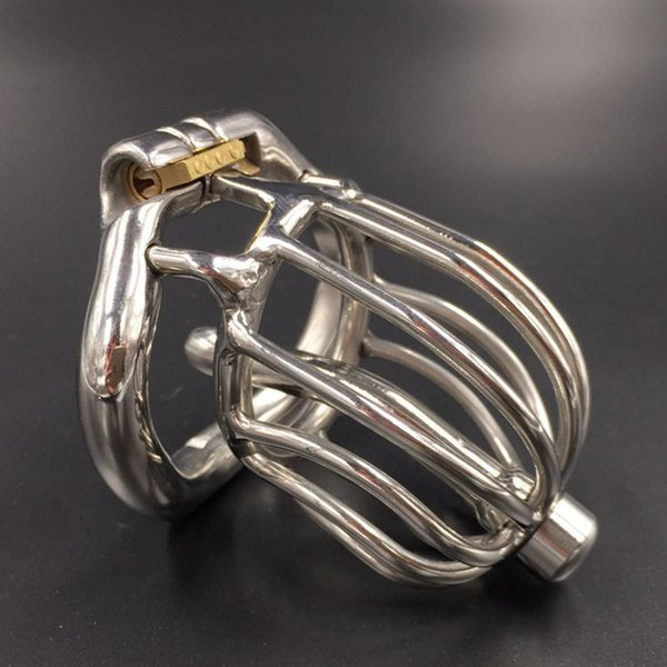 New arrival chastity cage chastity cb devices male penis bdsm bondage stainless steel 60mm cock cage with catheter