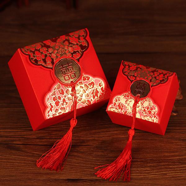 Süßigkeiten Aufbewahrungsbox Für Geschenke 50 teile / los Rot Hochzeit Liefert Veranstalter Gefälligkeiten Party Papier Organizer Kleine Dinge Aufbewahrungsboxen Süßigkeitskästen