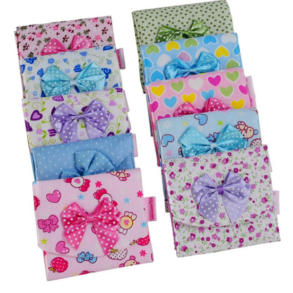 1PCS Cloth Menstrual Pads Menstrual Bowknot Cotton Sanitary Towel Napkin Pad Purse Holder Easy Bag Organizer Random