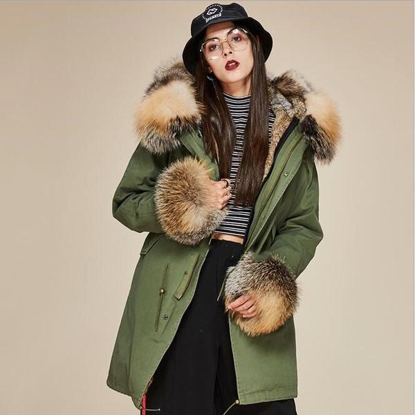 black brown fox fur trim women snow coats with cuff fur brown khaki rabbit fur lining army green canvas long parkas