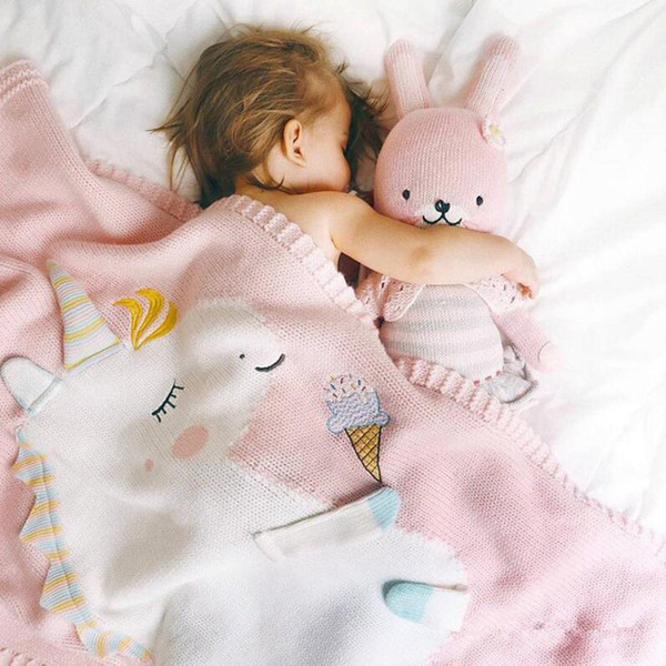 Infant Baby Blanket Cute Unicorn Animal Blanket Summer Beach Carpet INS Knitting Blanket For Baby 90*90CM