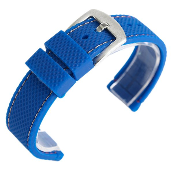 18mm/20mm/22mm/24mm Black/Blue Bracelet Waterproof Replacement Silicone Rubber Band Men Women Watch Strap Pin Buckle
