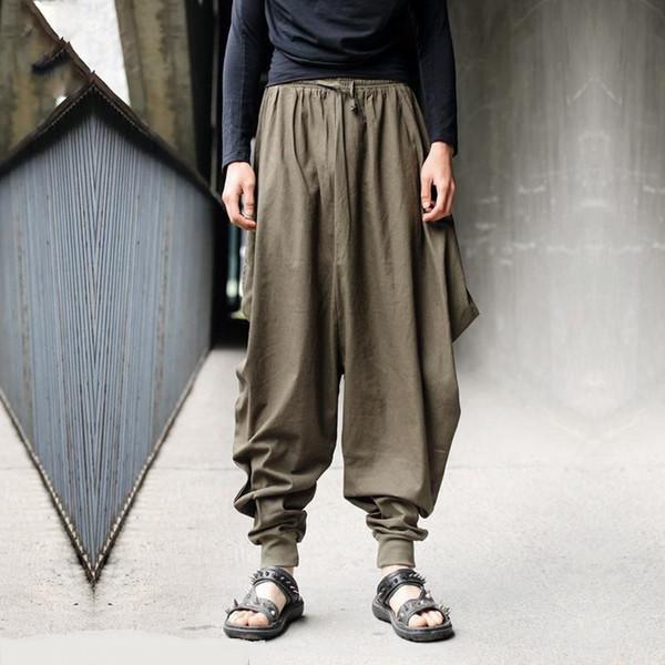 Hip hop men pants big loose long trousers casual joggers men punk solid men's retro-casual custom designs cool hemp harem pants