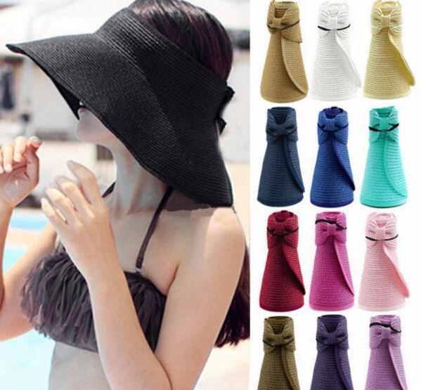 best selling Multicolor foldable wide brim sunbonnet roll up sun visor hat Summer Straw Sun hat beach for women