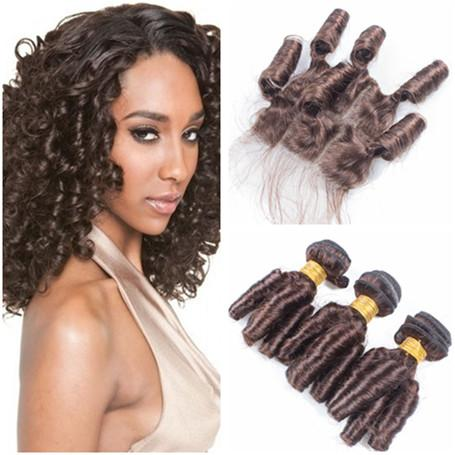 Spring Curls Dark Brown Brazilian Human Hair Weaves with Closure Aunty Funmi #4 Brown Virgin Hair 3Bundles Deals with 4x4 Front Lace Closure