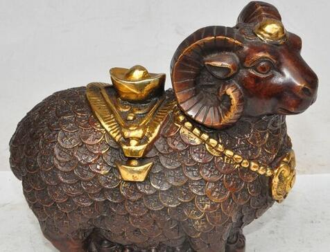 """6""""China fengshui bronze gilt zodiac sheep goat wealth money yuanbao rich statue"""