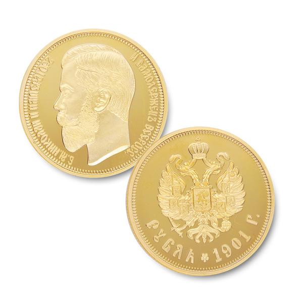 50pcs/lot Free Shipping,1901 Russia Gold plated Nikolai II Copy 1 Rubles Replica Russia Coins