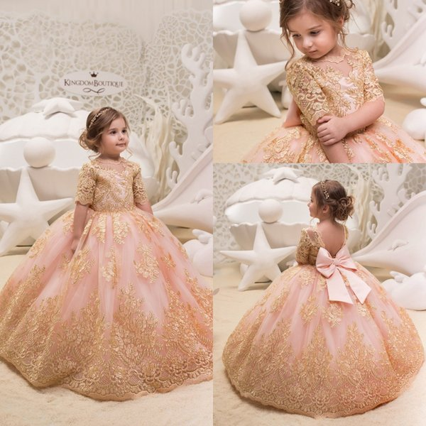 Cute 2019 Gold Lace Flower Girl Dresses for Weddings Tulle Ball Gowns Baby Girl Communion Dresses Children Kids Pageant Party Gowns