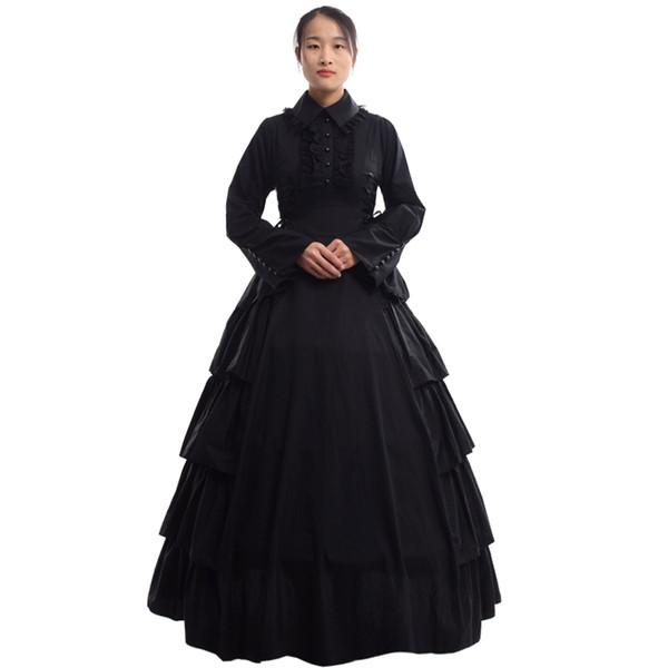 Retro Women Gothic Medieval Flounces Reenactment Costume Dress Vintage Victorian Carnival Party Black Ball Gown Dress