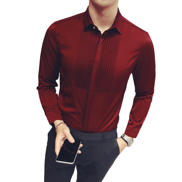 Pleated Wedding Shirt 2017 Long Sleeve Wine Red Black White Mens Dress Shirt Business Formal Party Chemise Homme Plus 5xl