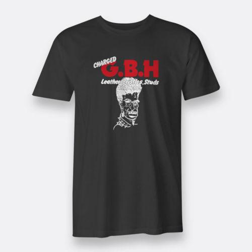 Charged GBH Punk Rock Leather Bristles Studs Acne S-3XL Black Tee Mens T-Shirt 2018 Summer Hot Quality Cotton Printed Fashionable Round
