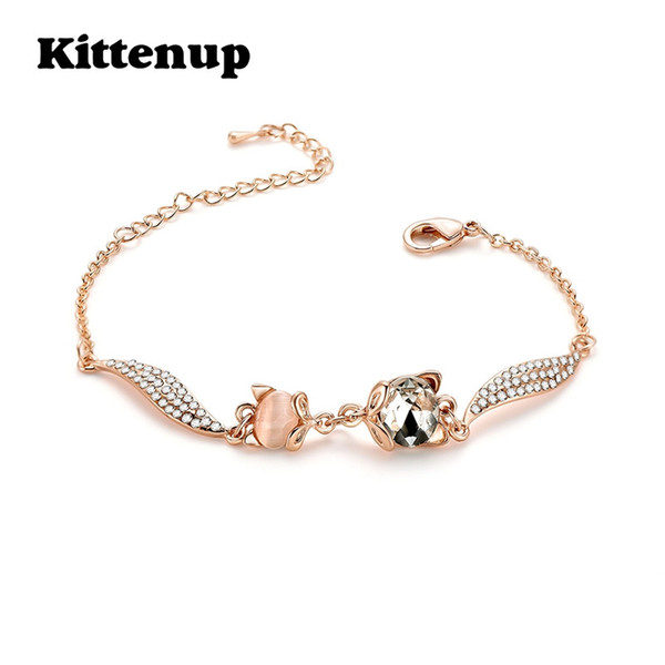 Kittenup Cute  Crystal Bracelet for Women Girls Rose Gold Chian Bangle Fashion Zircon Party Accessories