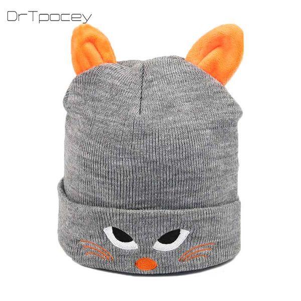 Autumn boy and girl knit hat winter baby warm hats cartoon cat embroidery cap children hat cap beanies kids Christmas gift caps