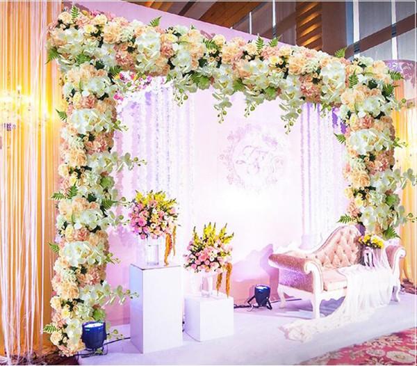 50 cm DIY fleur rangée Acanthosphere Rose Eucalyptus décoration de mariage fleurs rose pivoine hortensia mélange de plantes arc de fleur artificielle rangée de fleurs