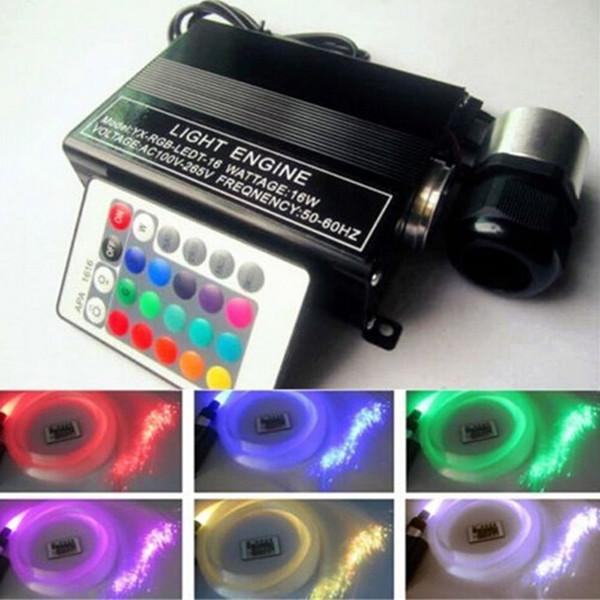 RGB colorido LED de plástico Fiber Optic Star Techo Kit de luz 150pcs 0.75mm 2M + 16W RGB luces de fibra óptica Motor + 24key remoto