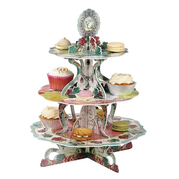 2018 New European Style Three-Tier Cardboard Cupcake Stand Living Room Fruit Plate Afternoon Tea Dessert Stand For Party