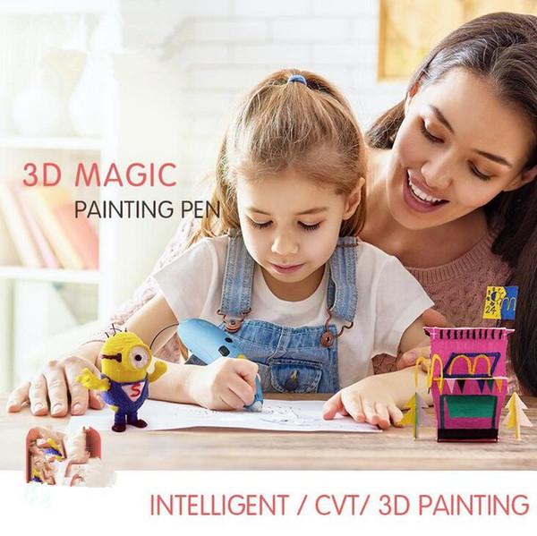 2018 3D Printer Magic Painting Pen Children Drawing Toys DIY Designer Modeling Coloring Arts 3D Paint Pen Kids Learning Education Toy