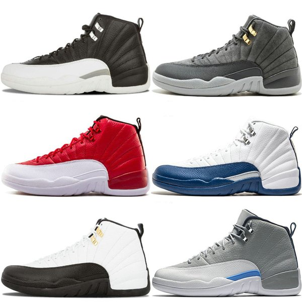 Online Cheap 12 Bordeaux Dark Grey Wool Basketball Shoes White Flu Game UNC Gym Red Taxi Gamma French Blue Suede Designer Dress Sneakers
