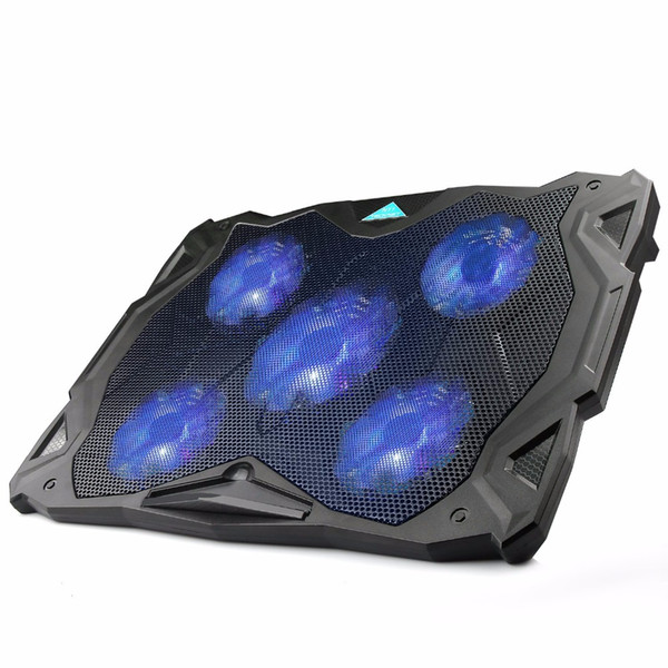TeckNet Quiet Laptop Cooling Pad Stand With 5 Fans at 1500 RPM and Blue LED Laptop Cooler fits 12