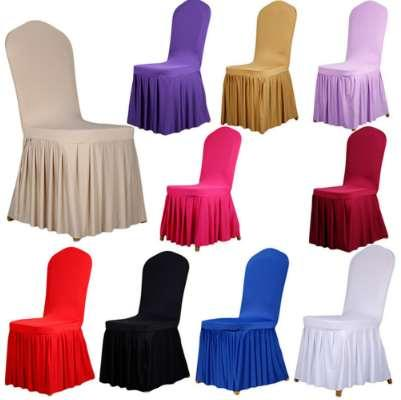 Wedding Banquet Chair Protector Slipcover Decor 10 Colors Pleated Skirt Style Chair Covers Elastic Spandex High Quality