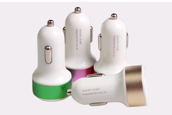 Universal Round Pacifier Type Colorful Metal Side 2.1A Double 2 Ports USB Quik Charger for iPhone Samsung,Huawei,50pcs/lot,Six Colors