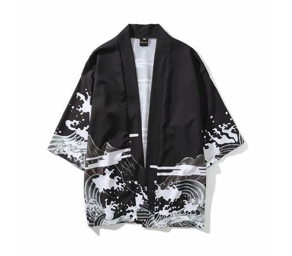Summer Mens Kimono Japanese Clothes Streetwear Casual Kimonos Jackets Harajuku Japan Style Cardigan Outwear New Fashion