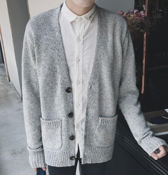 Mens Gestrickte V-Ausschnitt-beiläufige Strickjacke Cardigans Outwear lösen warmen Mantel C11