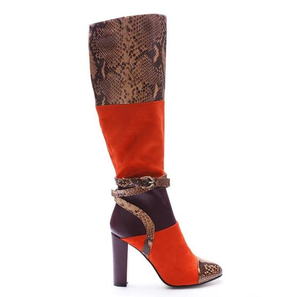 Compre Rodilleras De Mujer Tacón Alto Botas Cuadradas Piel De Serpiente Cuero Rebaño Zapatos Patchwork Hebilla Del Tobillo Correa De Gran Tamaño 44