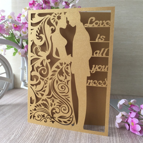 Exquisite Laser Cut Carved Wedding Card With Word Invitations Card Wedding Anniversary Celebration Lover Gift Holiday Cards Holiday Christmas Cards