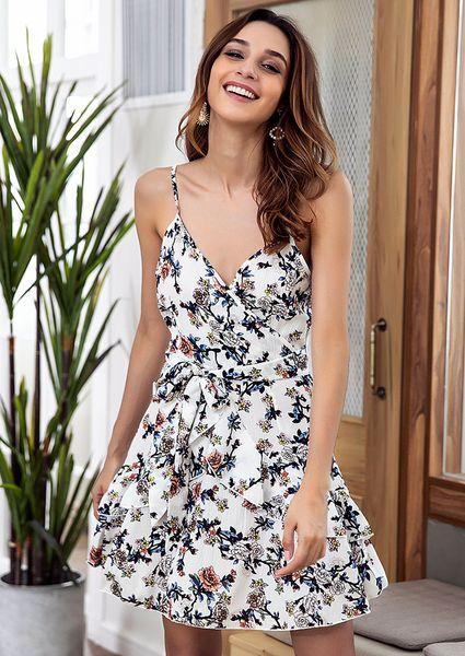Vestido con estampado floral de gasa y correa de espagueti para la FIESTA o la playa.
