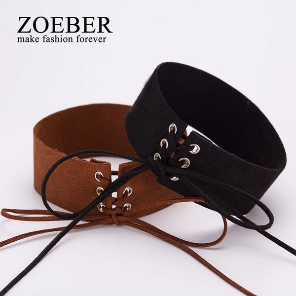 ZOEBER Hot Sell Bijoux Sexy Lace Up Women Punk Gothic bowknot femme Choker Necklace Vintage Velvet Leather Collares Anime