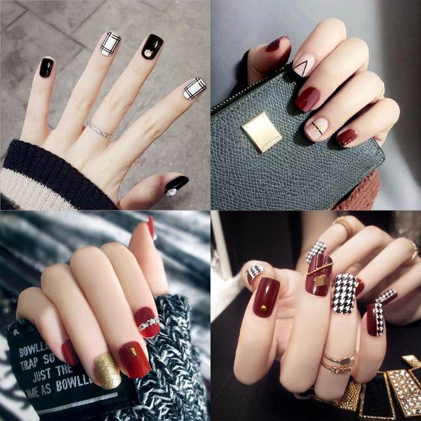 24pcs/комплект блестящий накладные ногти блестящие сексуальный милый короткие длинные поддельные ногти полный советы ногтей ногтей макияж 36 стили