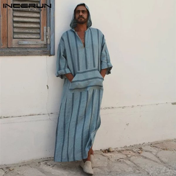 INCERUN 2018 Men T Shirt Long Sleeve Hooded V-neck Stripe Pockets Vintage Long T-shirt Men Loose Islamic Arab Kaftan Tops M-5XL