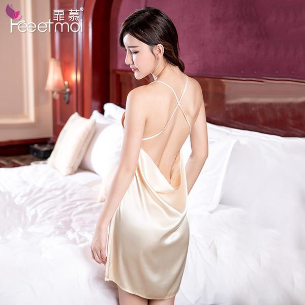 Mulheres Sexy Lingerie Porn Sem Costas Vestido Pijamas Roupa de Noite Preto Rosa Champagne deslizamento Silk Stain Nightgown Erótico Night Dress S1011