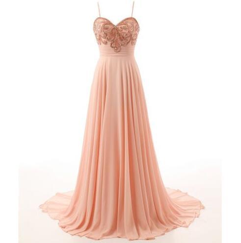 Sexy Long Evening Dresses Peach Chiffon Evening Gowns Spaghetti Strap Sweetheart Sheath Sweep Train Formal Party Dress For Women Zipper