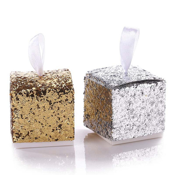"""New Wedding Party Favors And Gifts Candy Box """"All That Glitters"""" Gold Glitter Favor Box For Guest"""