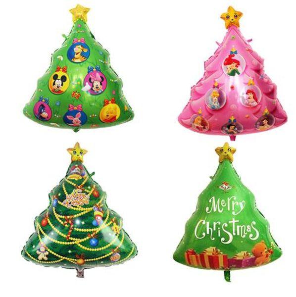 78*58cm Christmas tree shaped foil balloons catoon animal christmas tree pink princess christmas tree balloon decoration balls