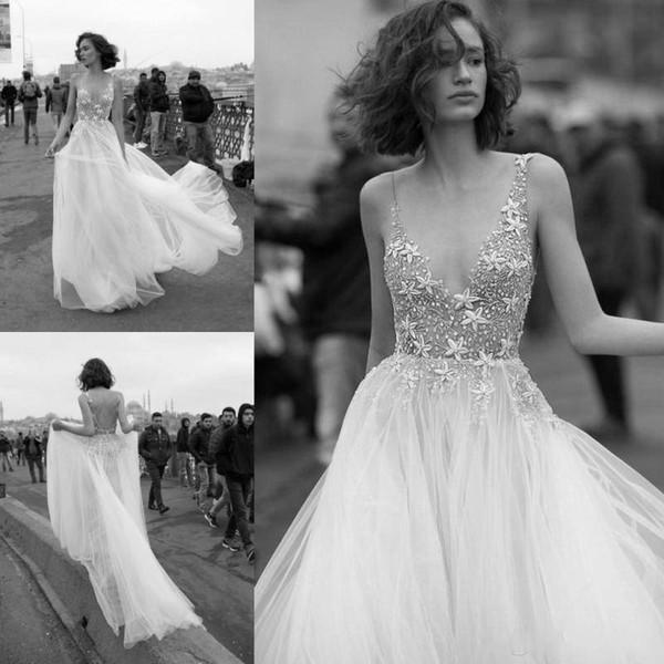 Liz Martinez 2019 Plage Une Ligne Robes De Mariée Perlée Étoiles Sexy Dos Nu Dentelle Illusion Profonde Col V Tulle Personnalisé, plus la taille robe de mariée