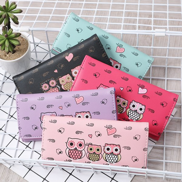 NEW Women Catoon Owl Printing Long Wallets Girls Cards ID Holder Purses Bag Multi-Card Wallets Clutch Purses